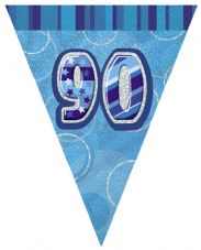 Blue Glitz '90th' Birthday Flag Banner